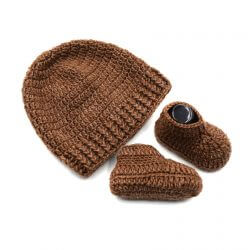 Baby Cap & Booties Set - Brown