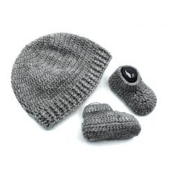 Baby Cap & Booties Set - Grey