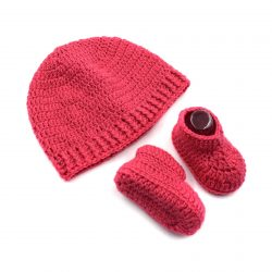 Baby Cap & Booties Set - Dark Pink