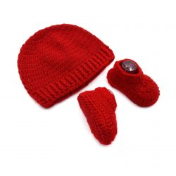 Baby Cap & Booties Set - Red