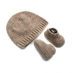 Baby Cap & Booties Set - Beige