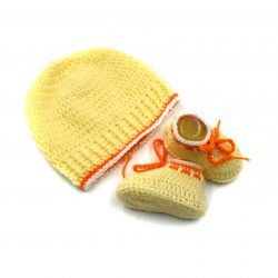 Baby Cap & Booties Set - Yellow