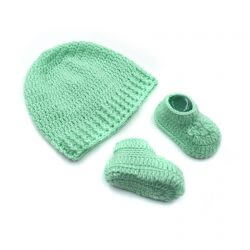 Baby Cap & Booties Set - Green