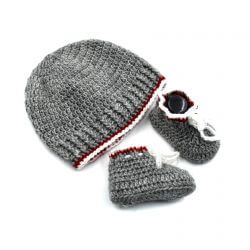 Baby Cap & Booties Set - Grey & Red