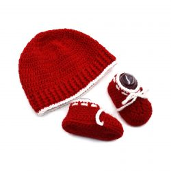 Baby Cap & Booties Set - Red & White