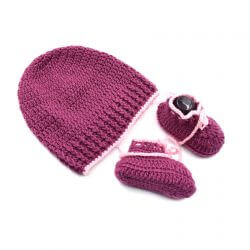 Baby Cap & Booties Set - Purple & Pink