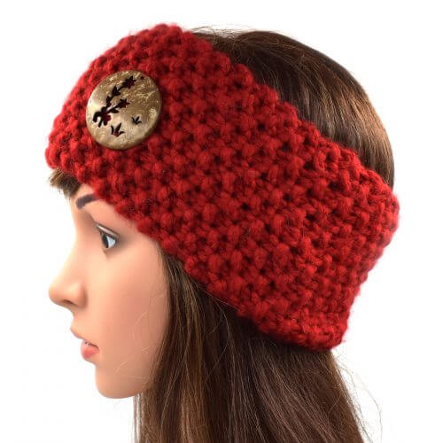 Women's Headband - Red with Button