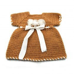 Baby Dress with Flowers and Ribbons - Brown