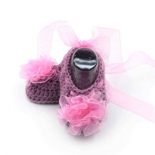 Baby Shoes with Flowers & Ribbons - Purple