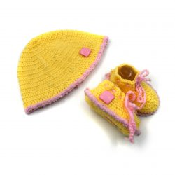 Baby Cap & Booties Set - Yellow & Pink