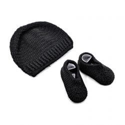 Baby Cap & Booties Set - Black