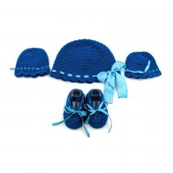 Baby Cap, Mittens & Booties Set - Marine Blue