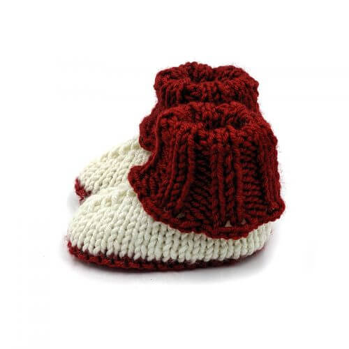 Baby Shoes Fold-over Sneakers - Red & Cream