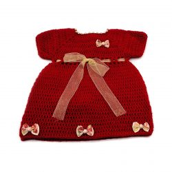 Woolen Baby Girl Dress with Bows - Red