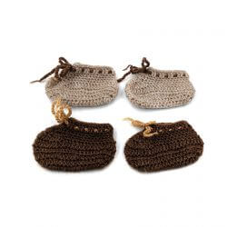 2 Pairs of Baby Shoes - Brown   Beige