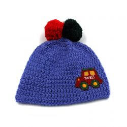 Baby Cap with Pom Poms - Blue