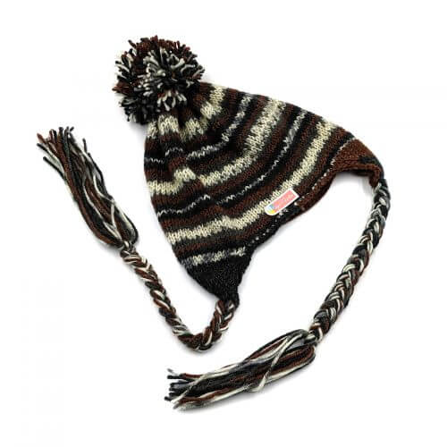 Woolen Icelandic Cap with Pompoms & Braids Multi Color