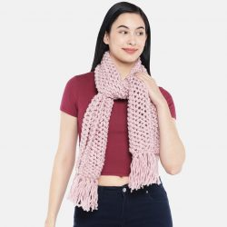 Women Double Knit Netted Scarf – Rose Pink