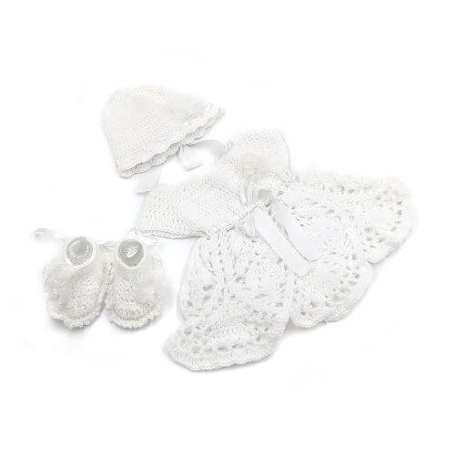 Dress, Cap & Booties Set - White 2305
