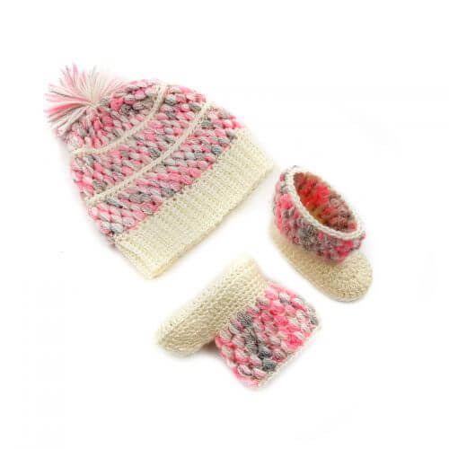 Baby Cap and Booties Set - Multi Color 2561