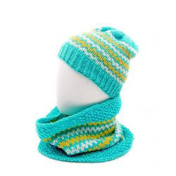 Men's Winter Beanie and Neck Warmer Set - Multi Color Light Blue