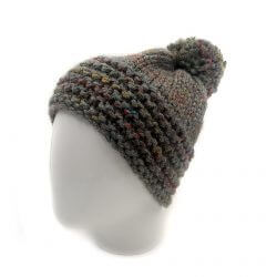 Men's Winter Beanie with Pompom - Dark Grey